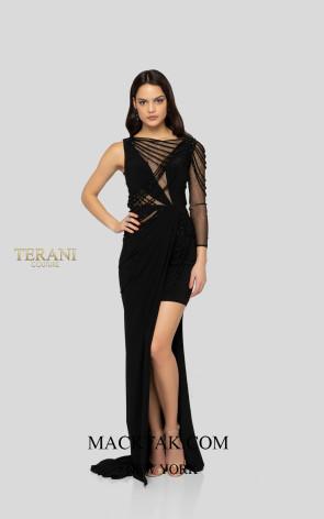 Terani 1913P8392 Black Front Dress