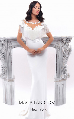 Tarik Ediz 93345 Ivory Front Evening Dress