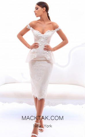 Tarik Ediz 93415 Ivory Front Evening Dress