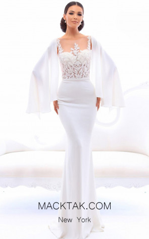 Tarik Ediz 93458 Ivory Front Evening Dress