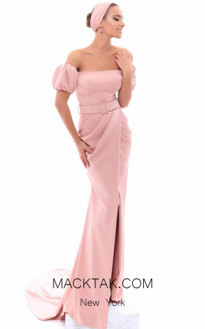 Tarik Ediz 93486 Dusty Rose Front Evening Dress