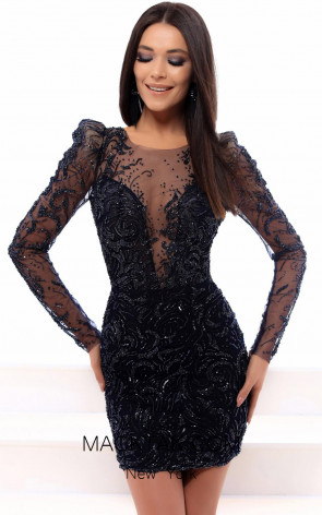 Tarik Ediz 93497 Navy Front Evening Dress