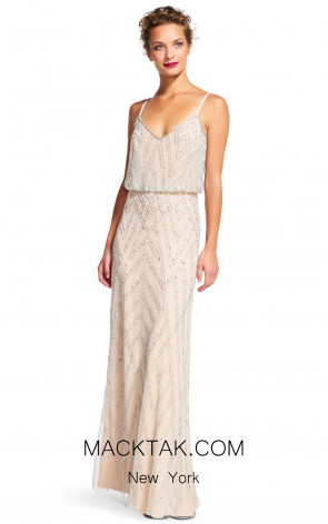 Adrianna Papell AP1E200215 Silver Nude Front Dress