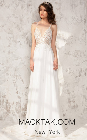 Aida Lorena Anisia White Front Evening Dress