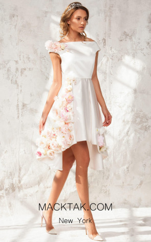 Aida Lorena Anita Blush Front Evening Dress