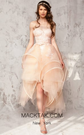 Aida Lorena Lola Peach Front Evening Dress