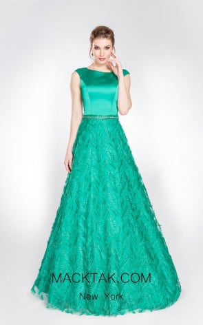 Alma Couture AC1001 Emerald Front Evening Dress