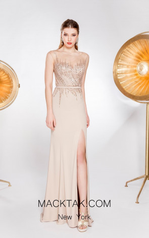 Alma Couture AC1004 Champagne Front Evening Dress