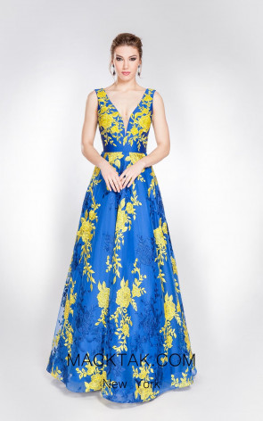 Alma Couture AC1018 Blue Yellow Evening Dress