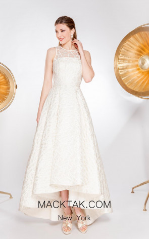 Alma Couture AC1025 Champagne Front Evening Dress