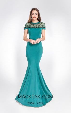 Alma Couture AC1028 Green Front Evening Dress