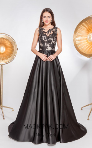 Alma Couture AC1059 Black Front Evening Dress