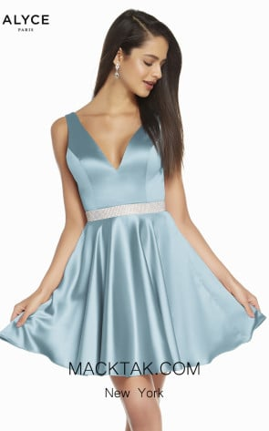 Alyce Paris 1466 Powder Blue Front Dress