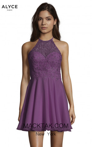 Alyce Paris 3717 Black Plum Front Dress