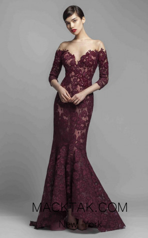 Beside Couture 1391 Burgundy Front Dress