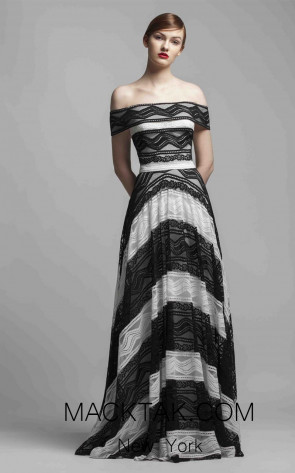 Beside Couture 1412 Black Ivory Front Dress