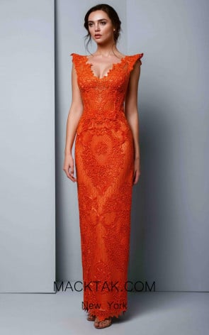 Beside Couture 1314 Orange Front Dress