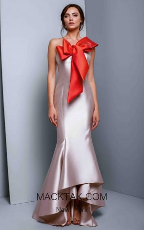 Beside Couture 1318 Beige Red Front Dress