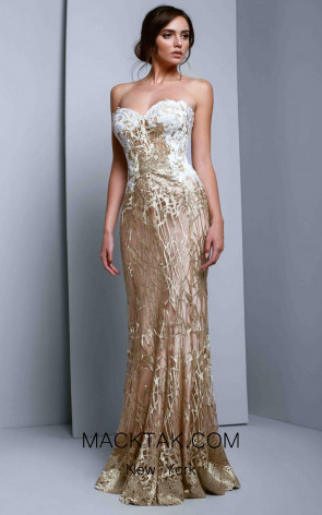 Beside Couture 1326 Gold Ivory Front Dress