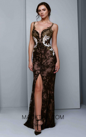 Beside Couture 1331 Black Gold Front Dress