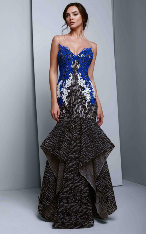 Beside Couture 1352 Black Ivory Blue Front Dress