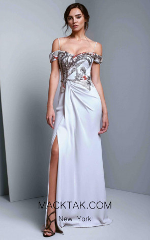 Beside Couture 1354 Silver Front Dress