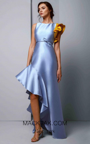 Beside Couture 1355 Blue Yellow Front Dress