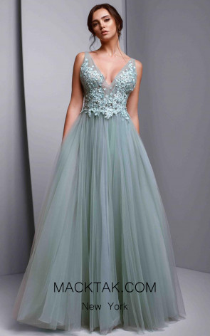 Beside Couture 1356 Aqua Green Front Dress