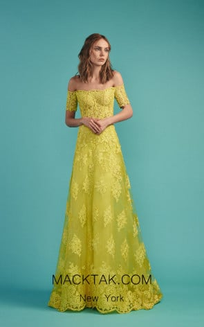 Beside Couture by Gemy Maalouf BC1475 Yellow Front Evening Dress