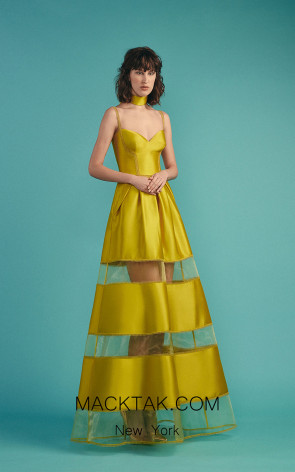 Beside Couture by Gemy Maalouf BC1476 Yellow Front Evening Dress