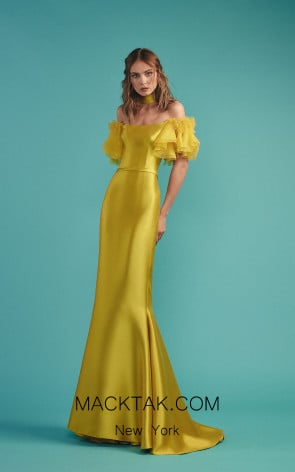 Beside Couture by Gemy Maalouf BC1477 Yellow Front Evening Dress