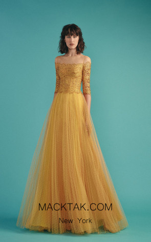 Beside Couture by Gemy Maalouf BC1479 Yellow Front Evening Dress