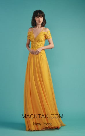 Beside Couture by Gemy Maalouf BC1480 Yellow Front Evening Dress