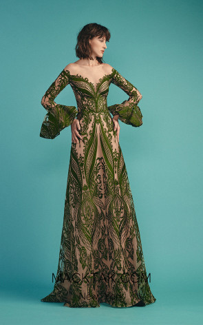 Beside Couture by Gemy Maalouf BC1488 Green Front Evening Dress