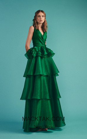Beside Couture by Gemy Maalouf BC1489 Green Front Evening Dress