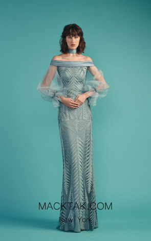 Beside Couture by Gemy Maalouf BC1493 Blue Front Dress