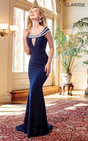 Clarisse 3409 Navy Front Prom Dress