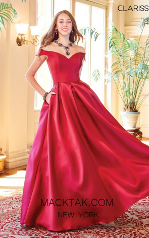 Clarisse 3442 Wine Front Prom Dress