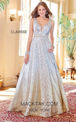 Clarisse 3589 Silver Ombre Front Prom Dress