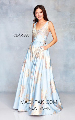 Clarisse 3703 Steel Blue Gold Front Prom Dress