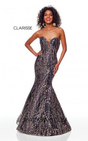 Clarisse 3719 Black Gold Front Prom Dress