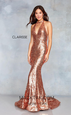 Clarisse 3721 Rose Gold Nude Front Prom Dress