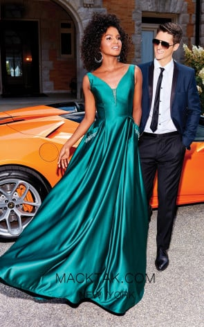 Clarisse 3741 Forest Green Front Prom Dress