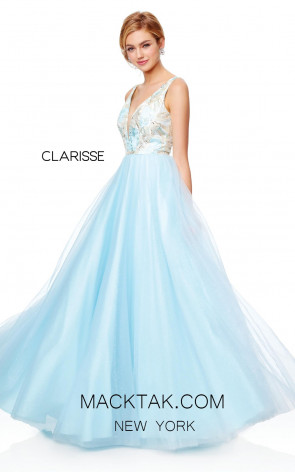 Clarisse 3768 Frost Blue Front Prom Dress
