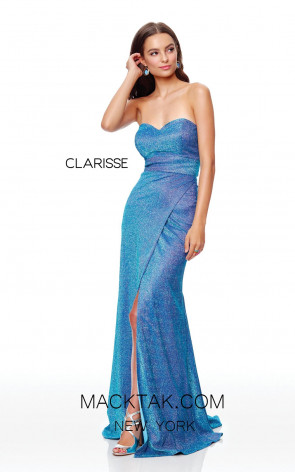 Clarisse 3769 Iridescent Turquoise Front Prom Dress