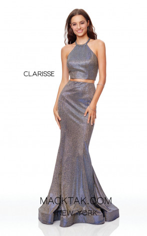 Clarisse 3791 Gold Indigo Front Prom Dress