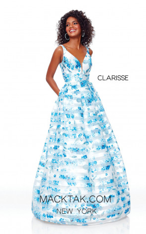 Clarisse 3800 Blue Print Front  Prom Dress