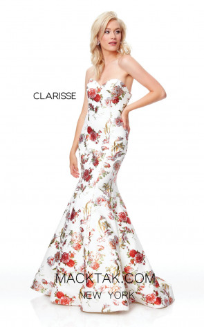 Clarisse 3801 Ivory Print Front Prom Dress
