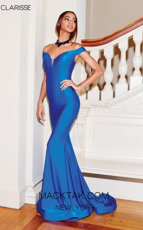 Clarisse 3845 Electric Blue Front Prom Dress