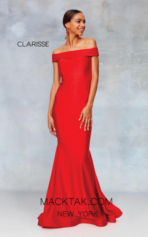 Clarisse 3847 Lipstick Red Front Prom Dress